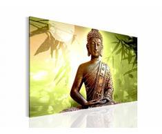 Bild Buddha Wandbild Vlies - Leinwand Bilder XXL Format Wandbilder Wohnzimmer Wohnung Deko Kunstdrucke Grün 1 Teilig - MADE IN GERMANY - Fertig zum Aufhängen 500314c