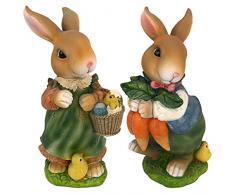 Design Toscano Hasenfiguren Bunny Hop Lane Mutter und Vater: 2er Set, mehrfarbig, 12,5 x 18 x 30,5 cm, QM922618