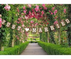 Hochzeits-Wimpelkette, Foto-Requisit – Hochzeits-Dekoration, 13 verschiedene Designs verfügbar, Pappe, Just Married - Vintage Garland
