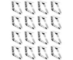 com-four® 16x Tischtuchklammern aus Edelstahl - Tischdeckenbeschwerer - Tischdeckenhalter (16 Stück - Edelstahl)