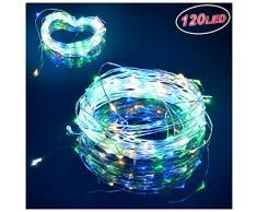 Mr.Twinklelight lichterkette weihnachtsbaum bunt-12M 120 LED led lichterkette kupferdraht-8 Modi USB lichterketten für Schlafzimmer|Häuser|Party und Deko, Wasserdicht
