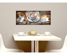 Wandbild Glasbild Acrylglasbild für Küche Tassen Kaffee Kaffeebohnen Gebäck (125x50cm)