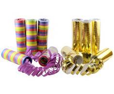 kiddyparty Luftschlangen, 10er Pack Premium Qualität Papierschlangen, 5 Stück Gold/weiß metallic, 5 Bunte & schwer entflammbar. Für Deko, Geburtstag, Parties, Karneval, Hochzeit und Silvester