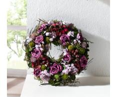 Deko KranzLila Rose aus Naturmaterialien und Textilblüten, Hochzeitsdeko, Tischkranz, Wandkranz