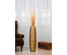 Große Bodenvase 90 cm, Mangoholz, Goldfarben