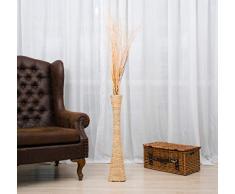 Leewadee Große Bodenvase für Dekozweige hohe Standvase Design Holzvase 75 cm, Wasserhyazinthe, Natur