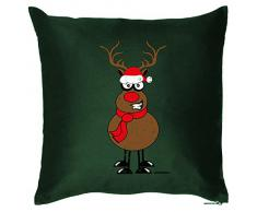 Weihnachten Deko Kissen mit Innenkissen - RENTIER RUDOLPH mit der roten Nase Advent Geschenk Idee 40x40cm grün : )