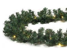 Tannengirlande 5 Meter grün mit 80 LED beleuchtet außen künstliche Tür-Girlande Weihnachten
