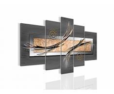 Bilder Abstrakt Wandbild Vlies - Leinwand Bild XXL Format Wandbilder Wohnzimmer Wohnung Deko Kunstdrucke Grau 5 Teilig - MADE IN GERMANY - Fertig zum Aufhängen 104953b
