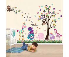 Walplus Wandaufkleber Happy Tiere Baum Schmetterling Gras Abnehmbare Selbstklebend Wandbild Kunst Aufkleber Home Dekoration Wohnzimmer Schlafzimmer Büro Tapete Kinderzimmer Geschenk Mehrfarbig
