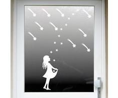 Sterntaler groß + 10 Sternchen + 10 Sterne + 10 Schweif Sternfänger Christkind Aufkleber Tattoo Winter Fenster Deko Folie Weihnachten ( weiß )