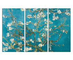 1art1 58489 Vincent Van Gogh - Blühende Mandelbaumzweige, 1890, 3-Teilig Poster Leinwandbild Auf Keilrahmen 120 x 80 cm