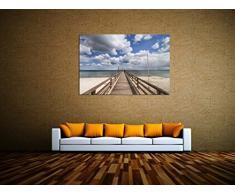 Steg ins Meer! Leinwand Bilder! Wandbild! Kunst Druck! Keilrahmen A05740 Größe 90 x 60 cm