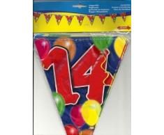 Wimpelkette Luftballons Zahl 14 Jahre, 10m