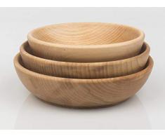 PlatanRoom 3er Set Holzschale Holzteller Schüssel aus Buche Holz Salatschüssel Ø 16 cm 18 cm 20 cm
