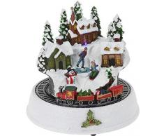 CHICCIE LED Weihnachtsdorf mit Zug 23cm - Winterlandschaft Winterdorf Weihnachtsszene Batterie