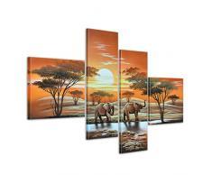 Bilderdepot24 Elefant Afrika M3 handgemaltes Leinwandbild 100x70cm 4 teilig 244