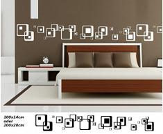 Wandtattoo Selbstklebend Bordüre Retro Style Rechtecke Quadrat Streifen Set  Kreise Banner Aufkleber Wohnzimmer 1U151, Farbe