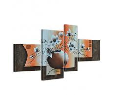 Bilderdepot24 Blumen M4 handgemaltes Leinwandbild 100x70cm 4 teilig 263