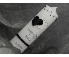 Hochzeitskerze Kerze zur Hochzeit Traukerze schwarz weiß 16485