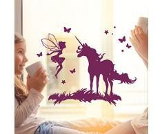 ilka parey wandtattoo-welt® Fensterbild Wandtattoo Einhorn mit Fee Elfe und Schmetterlingen Fensteraufkleber Fenstersticker Fenstertattoo Wandbild Wandaufkleber Wandsticker Aufkleber Sticker M2097 - ausgewählte Farbe: *lila*