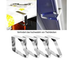 com-four® 8X Tischtuchklammern aus Edelstahl, Tischdeckenbeschwerer, Tischdeckenhalter