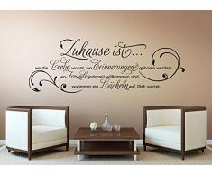 Wandora G027 Wandtattoo Wandaufkleber Wandsticker Zitat Zuhause ist wo die Liebe wohnt ... Familie Liebe Lächeln Blumenranke schwarz (BxH) 80 x 28 cm