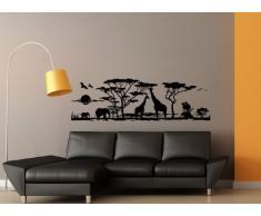Grandora Wandtattoo Afrika Savanne Tiere I schwarz (BxH) 95 x 30 cm I Elefant Giraffe Wohnzimmer Schlafzimmer Sticker Aufkleber Wandaufkleber Wandsticker W683