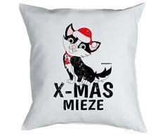 Goodman Design Kissen mit coolem weihnachtsmotiv - X-Mas Mieze - Geschenk - Zierkissen für Couch und Bett