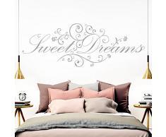 Grandora Wandtattoo Spruch Sweet Dreams I Silbergrau (BxH) 110 x 41 cm I Schlafzimmer süße Träume selbstklebend Sticker Aufkleber Wandaufkleber Wandsticker W718