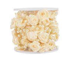 Hongzer Perlengirlande, 10 m/Rolle Rose künstliche Perle Draht Perlen Girlande String DIY Hochzeitsdekoration(Beige)