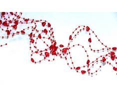 SiDeSo® Herzengirlande 5 Stück á 1,3m viele Farben Tischdeko Hochzeit (rot)