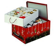 Kreher Weihnachtlicher XL Deko Karton mit Einsätzen für ca. 40 Weihnachtskugeln. Aus stabiler Pappe mit Griffen aus Kunststoff. In Rot mit Weihnachtskranz und Kugeln.