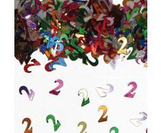 NET TOYS Farbenfrohes Tisch-Konfetti mit Zahl 2 - 14gr. - Glänzende Party-Tischdeko Streu-Dekoration Geburtstagskonfetti - Genau richtig für Geburtstage & Jubiläumsfeier