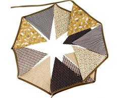G2PLUS Schöne Wimpelkette 3.3M Wimpel Girlande mit 12 Wimpeln in Dreiecksform für Kindergeburtstagsfeier; Weihnachtsfest (Braun)