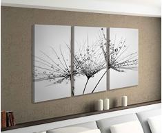 Leinwandbild 3 tlg Pusteblume Schirmchen Löwenzahn Blume schwarz weiß Bild Bilder Leinwand Leinwandbilder Holz Wandbild mehrteilig 9W677, 3 tlg BxH:120x80cm (3Stk 40x 80cm)
