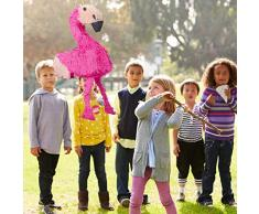 Relaxdays 4 TLG. Pinata Set Flamingo, XXL Sack Metallic Konfetti zum Befüllen, Pinatastock & Augenmaske, Kinder Pinata, pink