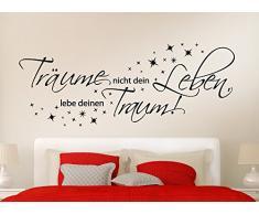 Grandora W3048 Wandtattoo Zitat Träume nicht dein Leben, lebe deine Traum weiß 100 x 39 cm