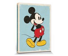 Set: Micky Maus, Retro Poster Leinwandbild Auf Keilrahmen (80x60 cm) + 1x 1art1® Aktions-Home-Deko Artikel