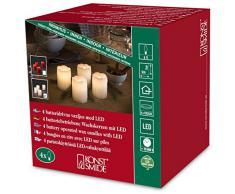Konstsmide 1966-100 LED Dekoration Echtwachskerze mit zerlaufener Wachsoptik/ für Innen (IP20) / 4er Set / Batteriebetrieben: 4xCR2032 3V (inkl.) / mit Schalter / 4 warm weiße Dioden