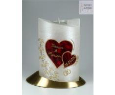 Hochzeitskerze mit Teelichteinsatz Oval 19/13 cm, Gold - 1277 - mit Namen und Datum - Perlmutt-Struktur - Kerze zur Hochzeit - Brautkerze - Herz