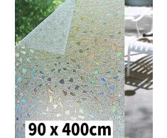 Shackcom 3D Fensterfolie Selbsthaftend Blickdicht Sichtschutz Sichtschutzfolie 90x400 cm Statisch Haftend Anti-UV Dekorfolie für Bad Küche Büro Zuhause-Farbeffekt unter Licht