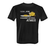 Atme, verdammt nochmal, atme! - Herren T-Shirt von Fashionalarm | Fun Shirt Spruch Spaß Küken Eier Tiere, Farbe:schwarz;Größe:4XL