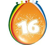 Folat 08216 16. Geburtstag Ballons 30 cm-8 Stück, Mehrfarbig