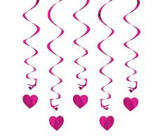 Oblique Unique® Deckenhänger Spiral Girlanden mit Herzen - Farbe wählbar (Pink)