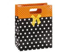 TSI Geschenktüten mit Punkte und Schleife, 12-er Packung, Mittel 2-fach, sortiert