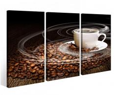 Leinwandbild 3 Tlg. Kaffee Tasse Coffee Bohnen Küche braun Leinwand Bild Bilder fertig gerahmt vom Hersteller 9O836, 3 tlg BxH:90x60cm (3Stk 30x 60cm)