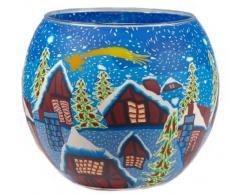 Himmlische Düfte Geschenkartikel CC08 Snow Town Windlicht Glas 11 x 11 x 9 cm, bunt