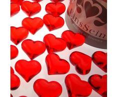 30x Dekosteine FUNKELNDE Herzen 22mm EinsSein® rot Dekoration Streudeko Konfetti Tischdeko Hochzeit Hochzeit Konfetti Diamanten Diamant Glas groß