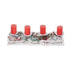 Mendler Adventskranz länglich, Weihnachtsdeko Adventsgesteck, Holz 11x15x50cm weiß-grau ~ mit Kerzen, rot